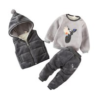 Wholesale Baby Boys Girls Winter Sets Kids WaistCoat Sweatshirt Pants Warm Infant Cotton Deer Clothing Suit Toddler years