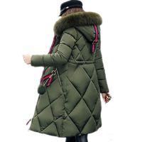 ingrosso giacche lunghe-Cappotto invernale di pelliccia grande parka donna addensato cuciture lungo cappotto invernale lungo piumino da donna in cotone piumino da donna 2018