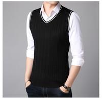 7084fa45aae5be V-Neck Sweater Vest Men Solid Color Pullover Sweater Vest Men Sleeveless  Mens Knitted Vests 2018 Male Clothes Korean Version for Men Hot