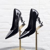 Wholesale shoes bows flowers for sale - 2019 Patent Leather Thrill Heels Women Unique Designer Pointed toe Dress Wedding Shoes Sexy Brand YSL Letters heel Sandals pump