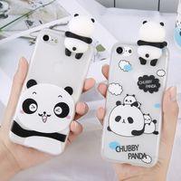 iphone kapak kılıfları pandalar toptan satış-3D Sevimli Standı Çin Panda Vaka iPhone 5 5 s SE X iPhone 6 Için 6 s 7 Artı Arka Telefon Kapak Karikatür Fırçalama iPhone 8 Için Artı
