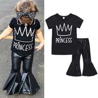 ingrosso camicia nera della neonata-Vestiti delle neonate 2018 più nuovo modo nero corona stampato manica corta T-shirt + PU campana inferiore Pant 2pcs imposta bambini bambini abiti estivi