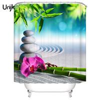 ingrosso pietra verde per la decorazione-Urijk 1PC impermeabile 3D tenda della doccia per il bagno in pietra verde bambù stampato decorazione bagno tenda fiore poliestere