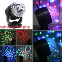 iluminação do palco rasha venda por atacado-6 W Mini Bola de Cristal Levou Lâmpada de Palco Ventosa 110 v-220 v Disco Laser Light Party Luzes de Controle de Som Natal Projetor Laser