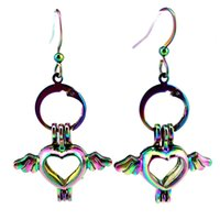 Wholesale heart wing earrings for sale - Group buy Z59 Rainbow Color Cute Bijou Heart Wing Pearl Cage Earrings Hooks with mm Plastic Beads Girl s Gift