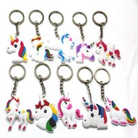 Wholesale Silicone Cartoon Unicorn Keychain Women Girls Shoulder Bag Holder Lovely Horse Charms Animal Toy Party Gift for Kids Children