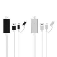 av numérique hdmi achat en gros de-Câble micro USB vers HDMI Eclairage iPhone Adaptateur AV numérique Connector Compatible avec IOS Android pour HD Moniteur Moniteur 1080 P
