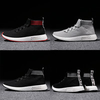 Wholesale Men Korea Shoes - NMD men's South Korea Joker high Cut Skateboard casual shoes letters breathable mesh running shoes sneakers canvas top quality