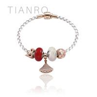 pulseira de couro com cercadura venda por atacado-TIANRO cordão de couro Branco lady rose ouro pulseira de contas simples símbolo de conexão acessório Charm Bracelets