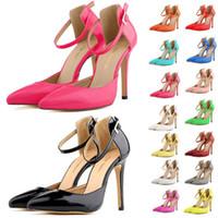 zapato menos al por mayor-Diseñador de la marca-Mujer Zapatos de verano Sandalias de la boda del partido Zapatos Sandalias de tacón bajo Pointed Toe Less Platform Ladies Shoes US 4-11 D0239