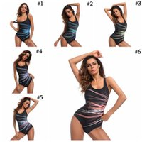 Wholesale wholesale plus size swimwear online - Plus Size Women One Piece Printed Swimsuit Push Up Monokini Bikini Swimwear Beachwear Backless Swimwear LJJO4213
