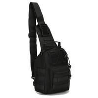 kamuflaj dışarısı sırt çantası toptan satış-Taktik Çanta Omuz Molle Siyah Militari Su Geçirmez Sırt Çantası Erkekler Ordu Küçük Sling Kamp Avcılık Kamuflaj Açık Spor Çantası