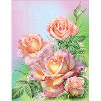 melhores pinturas artesanais venda por atacado-Os melhores presentes pinturas diy 5d sala de estar quarto handmade cruz bordado mosaico rosa flor pintura diamante para confidantes