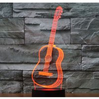 гитарный ночник оптовых-3D LED Night Light Music Guitar with 7 Colors Light for Home Decoration Lamp Amazing Visualization Optical Illusion Awesome