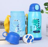 ingrosso bottiglia di bambini fumetto-Bottiglia di acqua per bambini Bottiglia di thermos per bambini con paglia Simpatica bottiglia in acciaio inox stile fumetto per gli studenti Baby Logo personalizzato