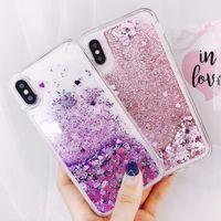 ingrosso cassa sveglia 5s dei telefoni-Custodia per cellulare Liquid Heart Love per Apple iPhone X 8 7 6S 6 Plus 5 5S SE Quicksan Glitter Cute Soft Cover posteriore