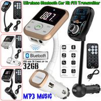 mando a distancia mp4 al por mayor-2018Wireless Bluetooth Car MP3 Player Radio FM Transmisor LCD SD USB Cargador Kit USB Modulator + Remote Envío gratuito