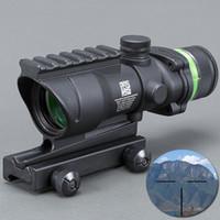 Wholesale green dot acog scope resale online - Trijicon ACOG BLACK Color Tactical style x32 rifle scope red dot Green Optical fiber mm Rail