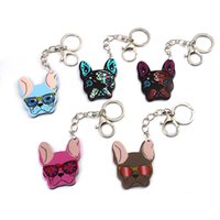 Wholesale lovely lovers photos - Free DHL 5 Styles Metal Keychain Dogs Key Rings Bag Charm Wholesale Lovely Keyfob Car Key Holder Gift Women Jewelry H454Q