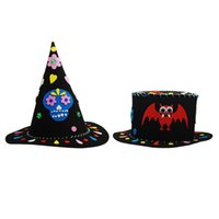 Wholesale child pirate costumes - Children Halloween Hat Cap Bat Witch Pattern Hats EVA Ghost DIY Hat Fancy Dress Party Christmas Halloween Costume Accessory