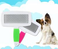 ingrosso spazzola del gatto-Maneggiare spargimento Pet Dog Cat Hair Brush Fur governano il regolatore pettine Pet Slicker Brush economici Pet Products accessori del cane ZZA282