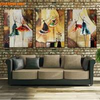 ballettplatte kunst großhandel-Unframed 3 Panel Handbemalte Ballett Tänzerin Abstrakte Moderne Wandkunst Bild Home Decor Ölgemälde Auf Leinwand Für Schlafzimmer