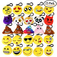 Wholesale kids video games - Dreampark Emoji Keychain cm Mini Cute Plush Pillows Key Chain Decorations Kids Party Supplies Favors