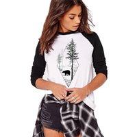 boyun tasarımı kız gömlek toptan satış-2018 Sonbahar Kış Uzun Kollu T gömlek Kadın Harajuku Ağacı Ve Ayı Tasarım O-Boyun Tshirt Kadın Bayanlar Kızlar Tops Tees Artı Boyutu