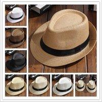 Wholesale Straw Hat Children Wide Brim - Jazz straw hats for kids men women Parent-child woven hats wide brim Hats caps For summer beach vacation YYA1097