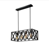 Wholesale hotels island - Vintage Industrial 6 Lights Edison Retro Rustic Wrought Iron Black Chandelier Rectangle Island Light Fixtures for Kitchen Bar Living Room
