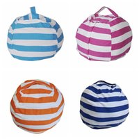 Wholesale dolls clothes 18 - Stripe Bean Bag 18 inch Beanbag Chair Kids Bedroom Stuffed Animal Dolls Organizer Plush Toys Bags Baby Play Mat OOA4353