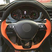 Hand-stitched Black Orange Leather Car Steering Wheel Cover for Volkswagen VW Golf 7 Mk7 New Polo Jetta Passat B8 Tiguan Sharan