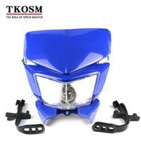 Motorcycle Motorbike Headlight Racing Street Fighter Black Headlight Fairing Light Lamp 18W High Low