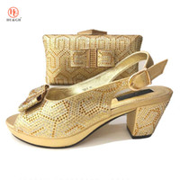 Wholesale red evening shoes online - High Quality Matching Italian Shoes And Bag Set For Evening Party Gold Shoes And Matching for Wedding African Summer High Heels