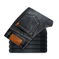 мужская классическая одежда оптовых-Бренд 2018 Одежда мужская мода джинсы бизнес случайные стрейч тонкий джинсы классические ковбойские брюки регулярные подходят джинсовые брюки мужской
