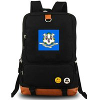 Wholesale Rich Prints - Connecticut daypack Nutmeg state flag school bag Banner rich backpack Pure color schoolbag Outdoor rucksack Sport day pack