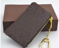 eski tuval cüzdanları toptan satış-ANAHTAR ÇANTASI Damier tuval yüksek kalite ünlü tutan klasik tasarımcı kadınlar 6 anahtarlık sikke çanta deri erkek kart sahipleri cüzdan çanta