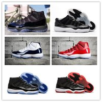 Wholesale gym rubber bands - 2018 11 Prom Night Black Win Like 96 82 Space Jam Bred Concord Basketball Shoes Men Women Gym Red 11s Sport Shoes Trainers Sneakers With Box