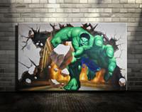 Wholesale 3d Wall Painting Art - Original 3D art wall decor 3d Print Oil Painting on canvas, XM157,3D art wall decor,ms. marvel,The Superhero Hulk Coming   Unframed