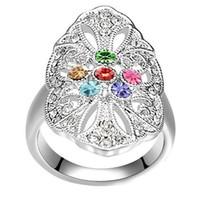 senhoras promessa anéis venda por atacado-Senhoras Femininas Promise Anéis de Cristal Moda Jóias Para As Mulheres Acessórios Presente do Dia Dos Namorados Branco Banhado A Ouro 18350