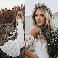 Wholesale white formal gowns for sale - Elegant Boho Lace Mermaid Wedding Dresses Off The Shoulder Short Sleeves Bridal Dresses Beach Formal Gowns for Bride Sweep Train Hot Sale