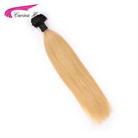 saç uzatmaları renk 27 toptan satış-Carina Ombre Perulu Saç T1B / 27 # Saç Atkı 1 ADET Ombre Renk Düz Paketler Remy İnsan Saç Uzantıları Ücretsiz nakliye