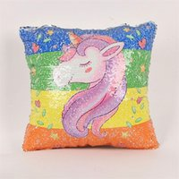 Wholesale Reversible Fabric - Sequin Pillow Case Creative Home Textiles Glitter Reversible Sofa Cushion Covers For Women High Quality Novel Style 13js X