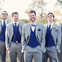 düğün için gri pantolon toptan satış-Gri Düğün Groomsmen Smokin 2018 Klasik Stil Üç Parçalı Kraliyet Mavi Yelek Gri Custom Made Erkek Takımları (Ceket + Yelek + Pantolon)