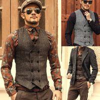 Wholesale men s gray dress vests - Mens Double Breasted Vest Men Dress Suit Vest Men Formal Gray Suit Vest Suit slim jacket Tops Men