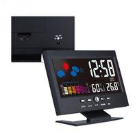 module intelligent achat en gros de-VBESTLIFE Smart Home Multifonction Intérieur LCD Numérique Température Humidité Horloge Météo Vioce-activé Alarme Module Intelligent