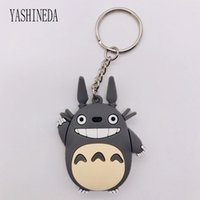 ingrosso titolare totoro-1 PZ Cartoon Figura Totoro Portachiavi 3D Double Side Portachiavi Carino PVC Anime Totoro Portachiavi Kid Toy Holder Gingillo regalo