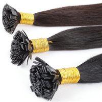 "Wholesale Human Hair Italian Keratin - 18""-24"" 100g 1g s Italian Keratin Pre-bonded Flat Tip Brazilian Virgin Remy Human Hair Extensions Capsule Hair Many Colors to Choose"