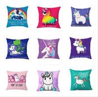 Wholesale nurses cartoons - 16 Styles Unicorn Horse Pillowcase creative cartoon unicorn print pillow case bed sofa waist cushion cover car hom decor free shipping