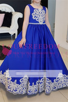 Wholesale hottest first communion dresses - 2018 Lovely Royal Blue Spaghetti Flower Girls Dresses White Appliques A Line First Communion Dresses Girls Party Gown Custom Made Hot Sale